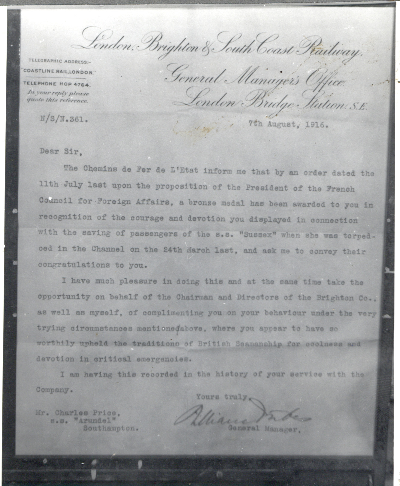 A letter of commendation to Charles Price, a local resident, for his actions following the attack on the SS Sussex. Courtesy of Newhaven Museum