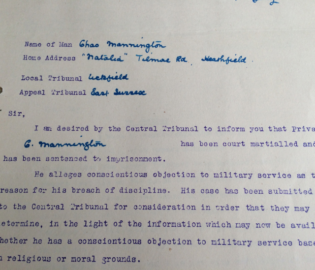 Letter about a Conscientious Objector