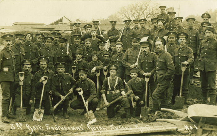 13th Battalion 'SouthDowns' at Cooden in 1915. Image courtesy of Paul Reed, Great War Photos www.greatwarphotos.com