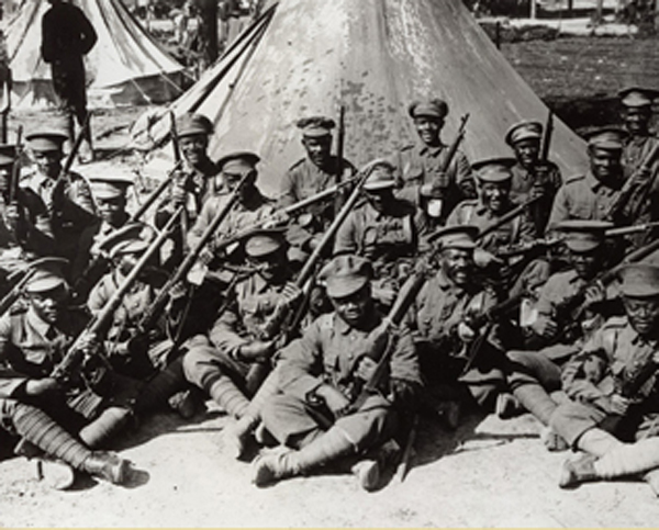 Men of the West Indies Regiment in a camp near the Amiens-Albert  Road. Courtesy of Brighton & Hove Black History Group