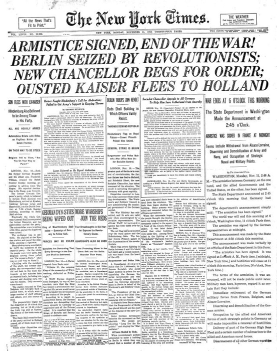 New York Times Front Page, 11/11/1918