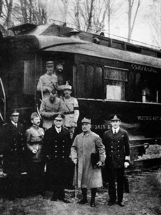 Photograph taken outside Marshal Foch's railway carriage after the signing of the Armistice