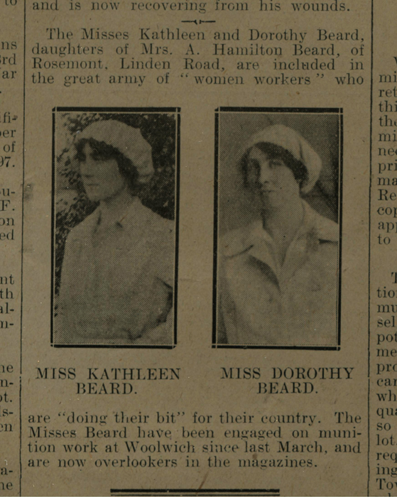 Bexhill Chronicle 10.11.1917 Misses Beard Munition Workers - Image courtesy of Bexhill Museum