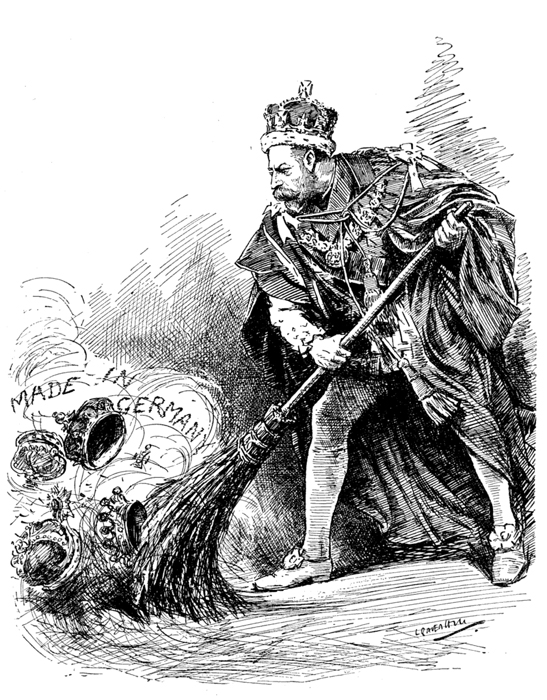 """A good riddance"" A 1917 Punch cartoon depicts King George sweeping away his German titles"