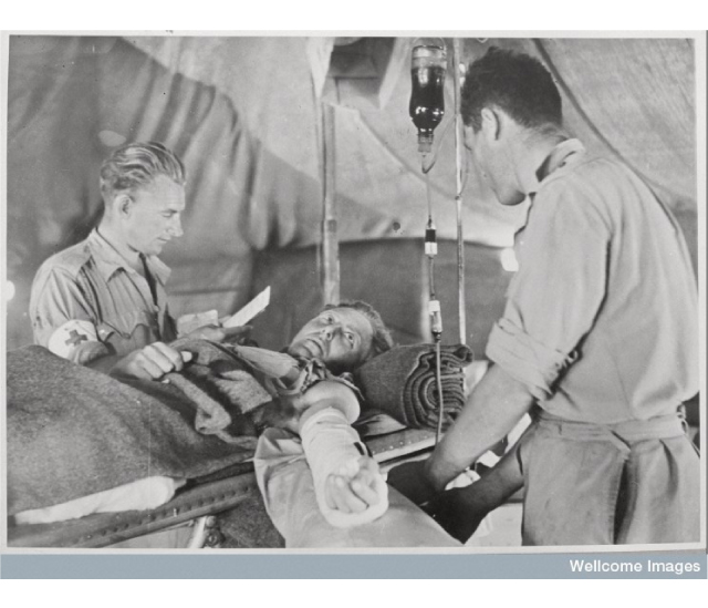 Credit The RAMC Muniment Collection in the care of the Wellcome Library, Wellcome Images Blood tranfusion, in The Mytchett Collection.