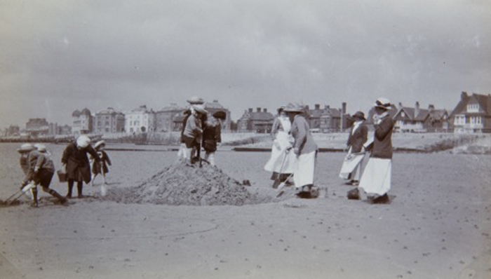 Nurse & their charges on the beach at Bognor Regis - Image courtesy of Louise Heren