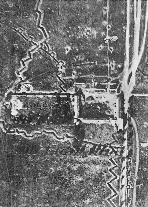Mouquet Farm, near Thiepval with trench systems surrounding it, prior to 1 July. - Image courtesy of Imperial War Museum: Q 27637