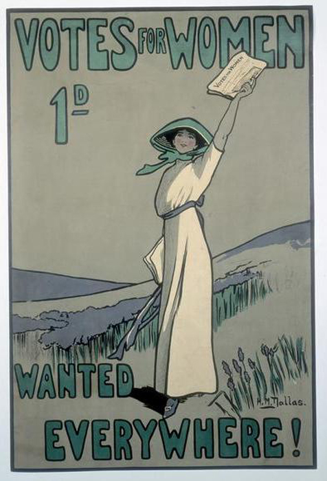WSPU poster by Hilda Dallas, 1909