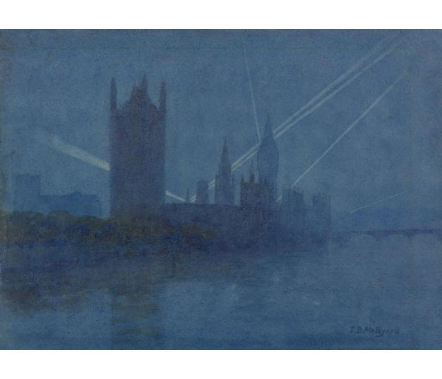 Searchlights over London. Image courtesy of Imperial War Museum: Art.IWM ART 17172