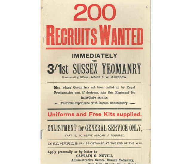 Sussex Yeomanry in the First World War - WW1 East Sussex